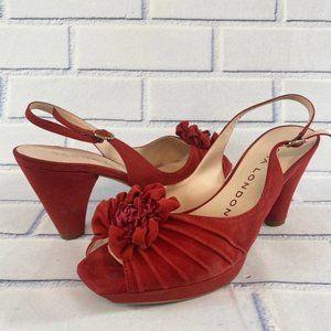 Sacha London Red Silk Floral Suede Block Heels